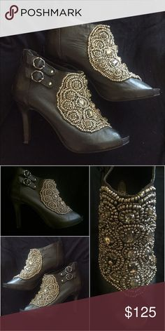 Brand New Blk leather ankle boots Beautiful and intricate silver beading ordains the front of this gorgeous high-fashion ankle booty. Genuine black leather, shoes by Hadari, never been worn and women's size 8 but they run a little small. 4 inch heel, never been worn Shoes Ankle Boots & Booties
