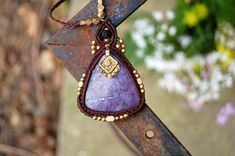 Macrame Necklace Purple Jasper Pendent and Brown by stoneagetale