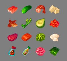 Food for Sushi Samurai on Behance Prop Design, Game Design, Candy Games, Casual Art, Episode Backgrounds, Gear Art, Game Props, Food Icons, Miniatures