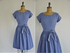 50s dress /  vintage chambray polka dot dress by simplicityisbliss, $48.00