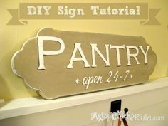 Easy, DIY Pantry Sign TUTORIAL {Chalk Paint & Graphics}  #chalkpaint #sign #graphics