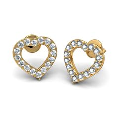 http://www.bluestone.com/earrings/diamond-heart-earrings-in-18kt-yellow-gold~420.html      Nothing says the three magic words better that this classic heart shaped pair of earrings set with 18KT Yellow Gold and Diamonds. Match it up with a dainty pendant and you are promised many brownie points!