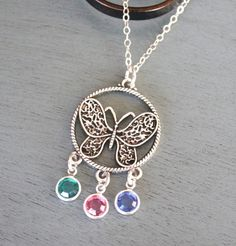 Birthstone Necklace, Butterfly Necklace, Memorial Necklace, Heaven Necklace, Grandmothers Birthstone Necklace, 3 Birthstone Necklace, Custom