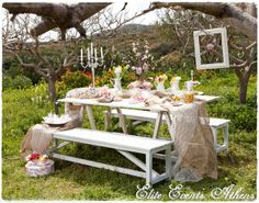 Outdoor setting at a Tea Party!  See more party ideas at CatchMyParty.com!  #partyideas #teaparty
