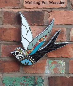 Swallow Mosaic Wall Art by Melting Pot Mosaics