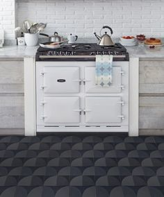 Graphic Tile Design in Impressive Colors and Models : Eclectic Kitchen Design Applied Dark Lindsey Lang Graphic Tile Collection And Rustic W...