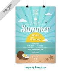 Sunny day on the beach party poster Free Vector