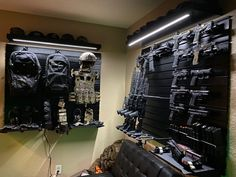 Dream of building a personal gun room or vault? Build your gun room for less than the price of a rifle with Hold Up Displays. Family Owned and Made in the USA! Hidden Gun Rooms, Design Your Dream House, House Design, Tactical Wall, Tactical Gear, Gun Safe Room, Armas Airsoft, Reloading Room, Gun Vault