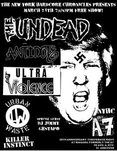 NYHC: Free A7 Throwback Show Tonight w/Undead, Antidote, Ultra Violence, Urban Waste, Jimmy G - http://blog.bazillionpoints.com/2016/03/24/nyhc-free-a7-throwback-show-tonight-wundead-antidote-ultra-violence-urban-waste-jimmy-gestapo/