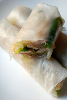 Rice Paper Rolls with Chicken. I love rice paper. It doesn't taste as heavy as the regular egg roll wraps.