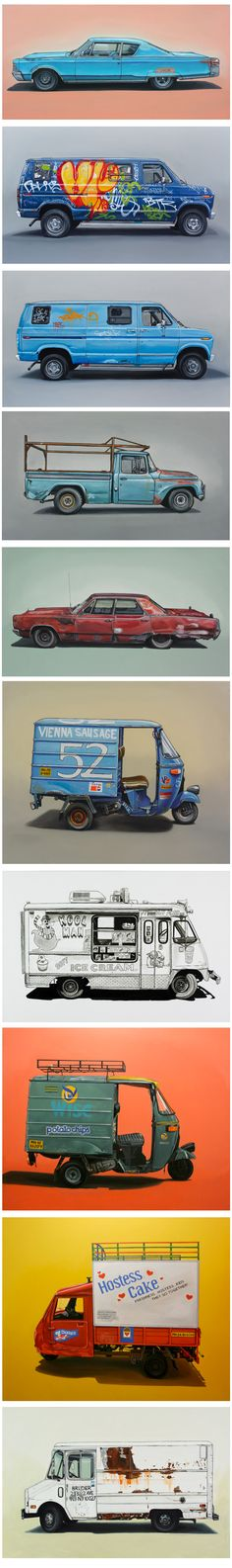 By Kevin Cyr. Brooklyn artist Kevin Cyr embraces the rough and rusty world of derelict vehicles.  #illustration #auto_rickshaw #three_wheeler http://www.kevincyr.net/index.php?/about-this-site/