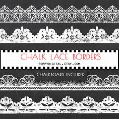 Chalkboard Lace Borders Digital Clipart lace by SvetaNDesign
