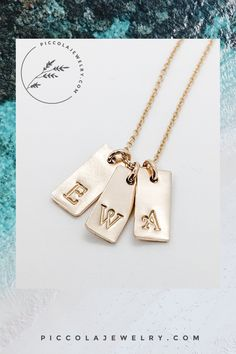 The tiny charm necklace with kids initials is very small and subtle, the perfect layering piece that's easy to wear everyday. Available in sterling silver or 14k gold fill, you can add up to 5 initials on the family pendant. Makes a great Birthday, Mother's Day gift idea for a Mom of 2 3 4 or 5 children. Family Necklace, Initial Necklace Gold, Personalized Jewelry, Hand Stamped, Pink And Gold, Layering, Initials, Fill, Charmed