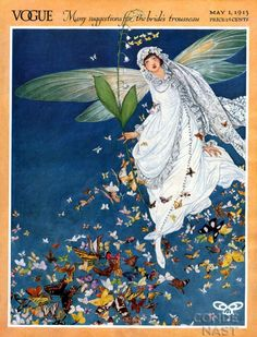 ⍌ Vintage Vogue ⍌ art and illustration for vogue magazine covers - Cover art by George Wolfe Plank, May 1913 Vogue Vintage, Vintage Vogue Covers, Art Deco Illustration, Vintage Illustrations, Vintage Posters, Vintage Art, Vintage Prints, Cover Art, Art Nouveau