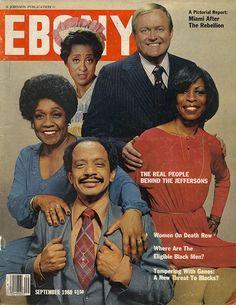 Ebony magazine, September 1980 — The Cast of The Jeffersons (clockwise from… Jet Magazine, Black Magazine, Magazine Stand, Ebony Magazine Cover, Magazine Covers, Vintage Black Glamour, Vintage Tv, Vintage Photos, Famous Black
