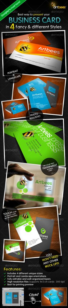 Best way to present your BUSINESS CARD in 4 fancy & different Styles. All you have to do is copy and paste. Your flat graphic files magically turn into 3D (Print simulation) with impressive angles and lightings. Best for print preview and advertising. Minimum CS version: CS4