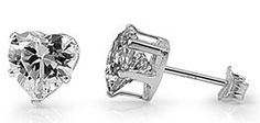 http://cheune.com/store Sterling Silver Heart Cubic Zirconia Stud Earrings 4mm 1/2cttw