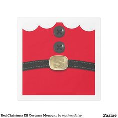 Red Christmas Elf Monogrammed Paper Napkins  - fun for christmas parties
