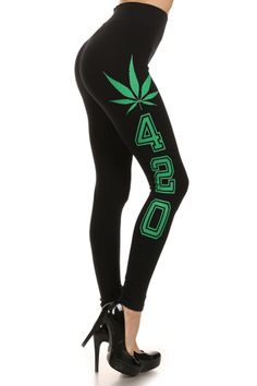 420 Graphic Print Lined Leggings (Multiple Colors Available)
