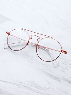 da969c6d0eb Shop Double Bridge Round Glasses online. SheIn offers Double Bridge Round  Glasses   more to