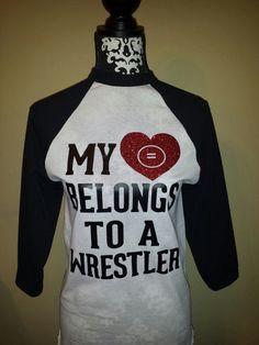 "My ""Heart"" Belongs to a Wrestler or Wrestling Coach raglan baseball shirt on Etsy, $25.00"