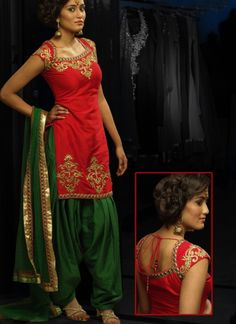 Look gorgeous in beautiful punjabi patyiala suit. Kameez is build of Cotton Silk with hand worked gold work on neck & back side as shown in image. Get green salwar is in patiyala style.    NOTE: Bigger sizes like 46,48,50,52 are available at an additional charge .
