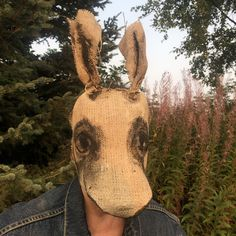 Creepy Bunny, Scary Rabbit - Handmade Custom Burlap Adult Halloween Horror Masks - Handpainted Scarecrow Props by CrookedCrowMasks on Etsy Adult Halloween, Halloween Horror, Halloween Masks, Creepy Masks, Rabbit Run, Pet Cemetery, Bunny Mask, Horror Masks, Movie Props