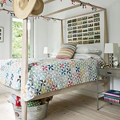 Quirky Cool    Make use of a lofted bed and slip galvanized buckets underneath to hold blankets and extras. Think outside the box—kitschy Christmas lights are a fun alternative to a typical light fixture. Go for an odd shape, like these reclaimed shotgun shells.