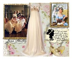 """Jane Austen inspiration"" by fashionrushs ❤ liked on Polyvore featuring Argento SC, Becca Stadtlander, Emma Jane, books, history, regency, Austen and empire"