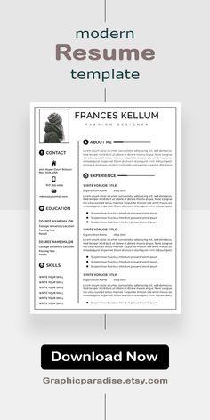 Resume | Resume Template Word | Creative Resume | CV | Resume Design