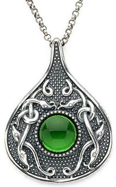 Sterling Silver Wood Quay Teardrop Pendant with Green Glass Stone Oxidized Sterling Silver, Sterling Silver Chains, Celtic Necklace, Irish Jewelry, Irish Celtic, Pendant Design, Claddagh, Jewelry Design, Stone