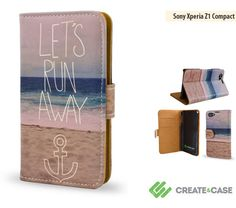 """Artist Designed Sony Xperia Z1 Compact wallet style case/cover - Colorful & unique leather style flip case """"Let's Run Away"""" beach sea"""