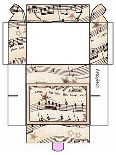 Vintage Sheet Music Free Clipart Biege Tan - Printable Gift Boxes