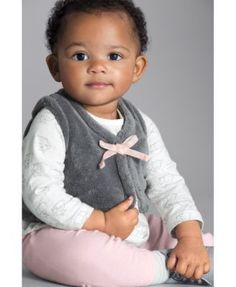 Carter's 3-Pc. Fleece Vest, Top & Leggings Set, Baby Girls (0-24 months) - Gray 24 months