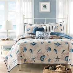 JCPenney Bedding #ad #jcpenney #bed #bedroom #bedroomideas #bedroomdesigns #comforter #pillows #beach #coastal #coastaldecor #coastaldesigns #coastalbedroom #beachhouse #beachlife #shells #blueandwhite #starfish