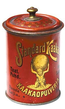 (printed tins as centerpieces) Vintage Finnish Cocoa Tin