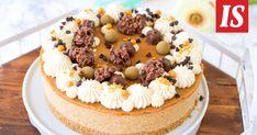 Tarun taivaallinen maapähkinävoikakku on juhlapöydän kuningatar Tiramisu, A Food, Peanut Butter, Caramel, Cheesecake, Cooking Recipes, Ethnic Recipes, Desserts, Top