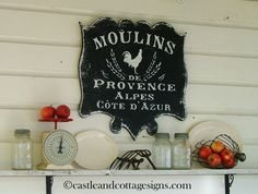 Moulins de Provence Vintage style French sign handpainted by castleandcottage on Etsy https://www.etsy.com/listing/85346276/moulins-de-provence-vintage-style-french