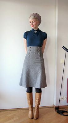 Love the high-waisted skirt, but it's a little long. The color of the shirt is nice too!