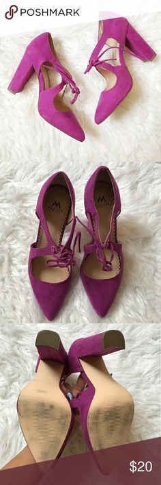"Magenta/Fuschia Lace Up Heels What a perfect way to add a pop of color to your outfit. Suede-like material. Front tie lace. Heel approx 3.5"" tall. Only worn a few times since they're too high for me. Just Fab Shoes Heels"