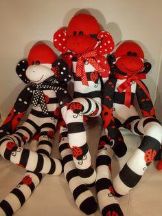 Newly Made .. Sweet Ladybug Sock Monkeys!