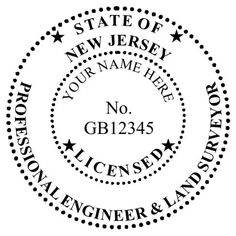 "New Jersey #Engineers are required to use an #embossing #seal  that meets the following requirements set forth by the State Board: 1 1/2"" in diameter 5 digits for License with the following prefixes  GE - Engineer GS - Surveyor GB - Dual License"