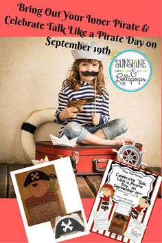"""Ahoy Thar Mateys: Celebrate """"Talk Like a Pirate Day"""" on September 19th in style and your students will want to swab their desks! These activities are sure to have ye class using de pirate jargon an havin some fun whilst integratin readin and writin. I would dress as a pirate, and ask the children to bring in any pirate books they have to share with the class...maybe even a pirate hat or 2..."""