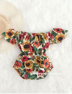 $35.99 | Super cute baby girl sunflower romper! | Baby Girl Romper, baby girl clothes, Baby Romper, Photography prop, Baby Bodysuit, Vintage Boho romper, Birthday outfit, babyshower gift | #ad