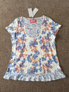 M&S PER UNA WeekEnd UK16 EU44 BNWT Ladies T-Shirt/ Top Pure Cotton Ivory mix  | eBay