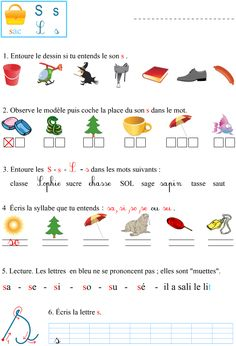 Le son s French Language Lessons, French Language Learning, French Teaching Resources, Teaching French, Learning French For Kids, French Course, French Worksheets, Montessori Education, French Classroom