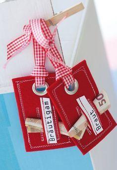 Kofferanhänger - ab in die Flitterwochen - Geldgeschenke zur Hochzeit basteln