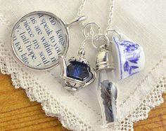 jane austen collectibles | Jane Austen Persuasion Novel Tea Ne cklace, Literary Gifts for Book ...