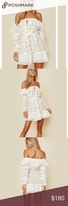 2cbe66e47eb For love and lemons Carolina Off Shoulder Dress Cascading with supple white  ruffles and pop out