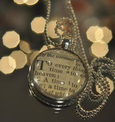 Ecclesiastes 3:1-2 Vintage Bible Pendant To everything there is a season, $18.00